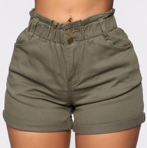 NWT Fashion Nova Olive Paperbag Jean Shorts 13